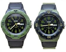 Casio Mens Sport Black with Military Khaki dial Day Date Watch - MRW-200HB-1BVEF