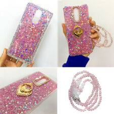 Womens/Lady Bling Glitter Heart Ring Stand Sequin Crystal Chain Phone Case Cover