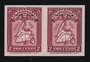 Newfoundland Sc #86P (1908) 2c brown carmine Map Plate Proof Pair XF