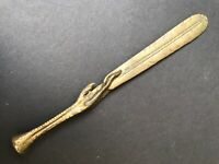 Antique Letter Opener Page Turner Art Nouveau Classical  feather Desk Accessory