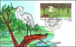 Scott UX129 15 Cents Blue Heron Melissa Fox Hand Painted FDC 6 Of 15
