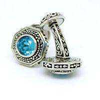 Cufflinks Silver Blue Stone Vintage Style Pair Wedding Mens Cuff Links