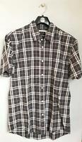 Quiksilver Mens CHECK SHORT SLEEVE Cotton Casual Shirts New Dark Grey Rrp $49.99