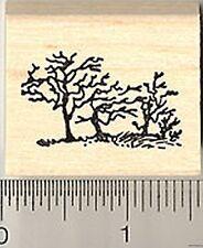 tiny bare trees silhouette scene Rubber Stamp WM B7410