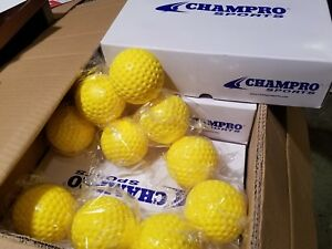 5 Dozen (60) Champro 9 Inch Yellow Dimple Molded Batting Cage/Practice Baseballs