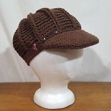 4acfac75c75 Womens American Eagle Brown Knit Newsboy Gatsby Cloche Hat Cap Stretch Fit  - 21