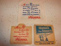 TWO VINTAGE HAMMS BEER 2 SIDED CARDBOARD BEER COASTERS THEODORE HAMM
