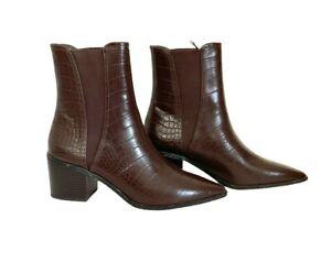 Pinkie At Asos Brown Mock Croc Chelsea Block Heel Boots Size UK 4 NEW