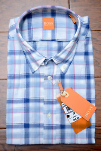 Hugo Boss $145 Men's Equator Blue Plaids Lightweight Cotton Casual Shirt M