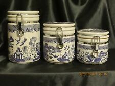 HERITAGE MINT 3pc Canister Set in 'BLUE WILLOW' pattern