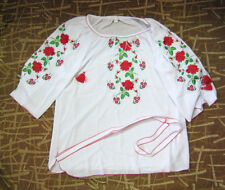 Hand embroidered women blouse shirt vyshyvanka with belt Made in Ukraine size L
