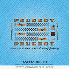 Peugeot Tandem Bicycle Decals - Transfers - Stickers - Orange & Black - Set 757