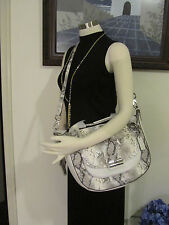 NWT Coach 19325 Kristin Python Embossed Leather Round Satchel Silver/Grey $598