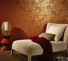 Red/Brown & Gold Plain Washed Wallpaper -10m roll- Made in Germany- Designer
