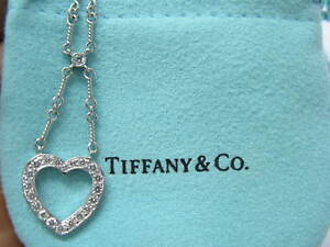 Tiffany & Co Platinum Hearts Pendant Necklace .55Ct 16""