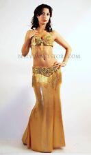 Professional Bellydance Belly Dance Bellydancing Gold Lycra Skirt (L)
