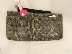 COACH Madison Python Embossed Leather ZIP Clutch Wristlet 46032 $198 New