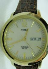 Men Watch Timex Indiglo Quartz Day Date New Brown Leather Crocodile Band WR 30