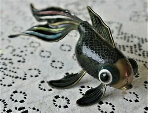 BEAUTIFUL ARTICULATED CLOISONNE ENAMEL BRASS COPPER FISH FIGURINE 18CM LONG