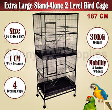 Bird Cage Pet Parrot Cockatoo Aviary Stand Alone 2 Level Extra Large 187 CM