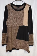 Style Co Sweater Sz L Black Brown Pull Over Long Sleeve Metallic Flared  Sides