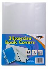 3x Tiger A4 Clear Exercise Book Covers (30cm x 21cm) Strong Plastic Protecting Sleeves School Notebook