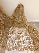 "GOLD MESH W/GOLD EMBROIDERY SEQUIN LACE FABRIC 52"" WIDE 1 YARD"