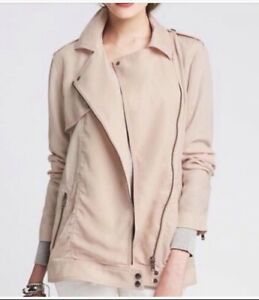 NWT $150 BANANA REPUBLIC Size L 100% Tencel Drapey Moto Jacket Blush Pink NEW