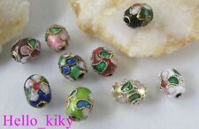 150Pcs Mixed colour cloisonne enamel floral oval bead M489