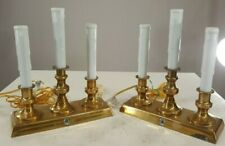 Brass Triple Electric Candle Lights w/On/Off Timer Sensor 2 pcs. Collectible