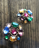EDWARDIAN CIRCULAR EARRINGS SCREW FITTING MULTICOLOUR BRIGHT STONES LATICED