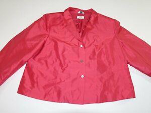 Talbots Women's 3 Button Blazer Jacket Size 22W Petite Red Suit Coat 100% Silk P