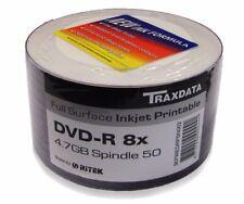 50 Traxdata white printable Blank DVD-R 8x Discs 4.7GB Ritek G05 Tracked post