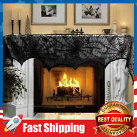 Black Lace Spiderweb Fireplace Scarf Halloween Decoration Cover 18 x 96 inch