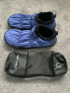 Mens Down Blue Nordisk Tent Slippers Fur Lined Size Large (10/11)
