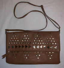 TOPSHOP Tan Gold Leather Style Studded Clutch Cross Body Bag PERFECT CONDITION