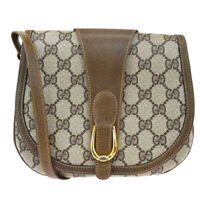 Auth GUCCI GG Pattern Shoulder Cross body Bag PVC Leather Brown GD Italy 68SB251