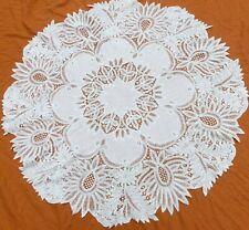 """Antique Battenburg 60"""" round lace tablecloth"""