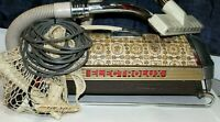 Vintage Electrolux Brown Patchwork Vacuum Floor Sweeper & 4 Attachments Works!