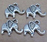 PJ86/ 15pc Tibetan Silver Dangle Charm Elephant Animals Jewelry Accessories