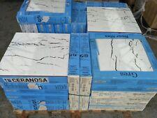TILES JOBLOT 22: White marble effect ceramic floor tiles, black veins 45x45 24m2