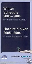 Airline Timetable - WestJet - 15/11/05  (Canada)
