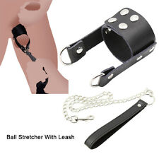 LEATHER COCK SLEEVE STRAP ON PENIS BALL STRETCHER ENLARGER WITH METAL LEASH CBT