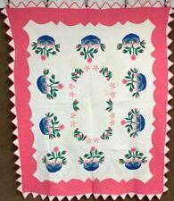 Masterpiece! Beautiful c 1930s Floral Applique STUFFED Vintage Quilt