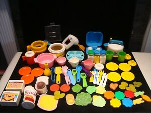 All Vintage Fisher Price Play Food Fun with Food Dishes Pots Mixer 78 Pc Lot B