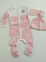 Burts Bees Baby Girl Organic Coverall Hat Set Size 3 6 9 months Layette Coral
