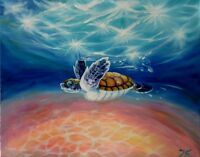 "CARIBBEAN TURTLE 30X24"" Hand Painted Original Oil Painting Realism Nadia Bykova"