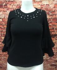 NY Collection Black Studded Frilled Sleeve Top Blouse Shirt Size XS
