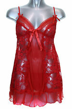(6496-2) Lace Frill Babydoll Nighty Lingerie Set With G String Red 8-14
