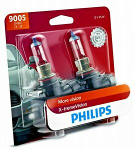 Genuine Philips X-treme Vision 100% Brighter HB3 9005 XVB2 65W Halogen Bulbs NEW